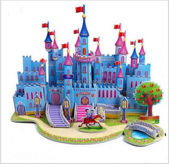 3D Dimensional puzzle castle Children's educational toys Diy Hand Paper Model