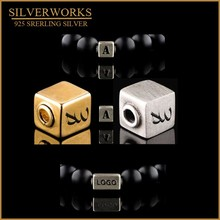 925 sterling silver Custom Logo Cube Square Brushed Beads for men bead bracelet 16*8*8 40pcs