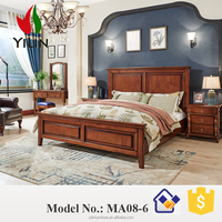 America style walnut storage wooden beds for bedroom