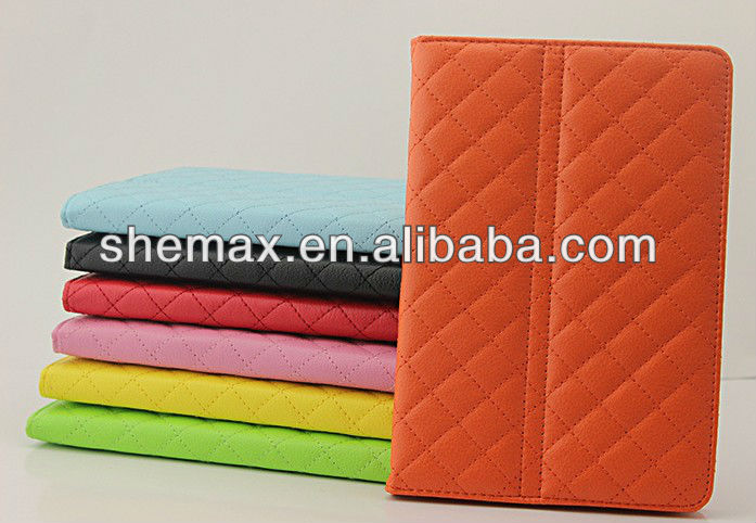 Hot selling Color diamond pattern pu leather case smart cover for ipad mini