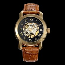 OHSEN OYW 1328 Luxury Branded Wrist Watch for Man and Women Coffee Leather Gold Color Plate Cheap Price Brand Watch for Couple