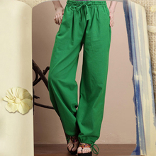 Wide Leg Pants For Women Cotton Linen Trousers Elastic Waist Loose Casual Long Pants