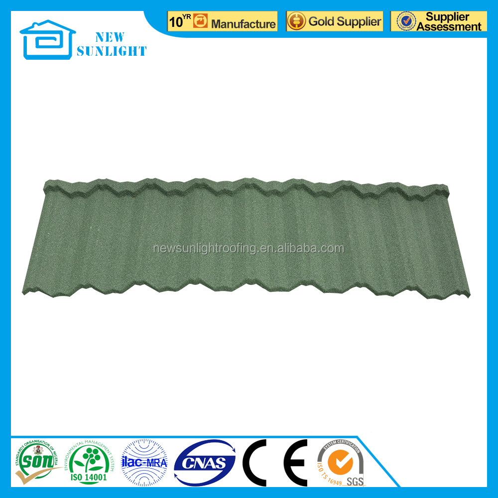 CE Certificate Waviness Stone Chips Roof Tile /Stone Coated Steel Roof Tile