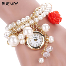 Creative Pearl Stainless Steel Chain Strap Ladies Bracelet Wrist Watches