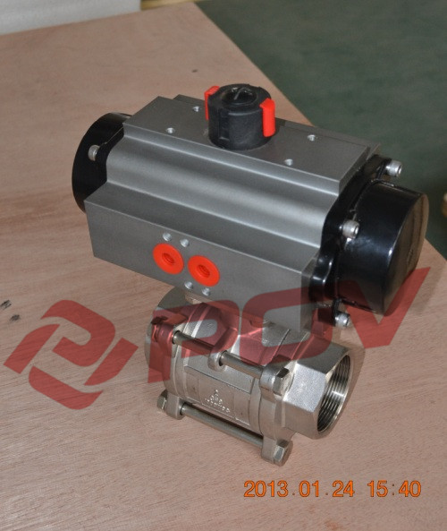 Double acting air actuated 3pc 1000wog ss316 threaded ball valve
