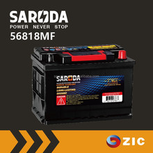 SARODA Auto batteries Europe car standard 12V 68ah 56818MF lead acid car battery with Expanded lead grid