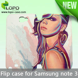 High quality sublimation leather flip for Samsung Galaxy Note3 case