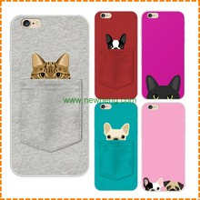 2D sublimation heat printing case pocket cat pocket dog mobile phone cover for iphone 6 6s