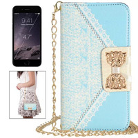 New Fashion Arrived Luxury Wallet Card Holder with Strap Lace Pattern Bowknot Leather Filp Case Cover for iphone 6 4.7 inch
