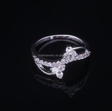 Factory Top Sell white zircon engagement ring in 916 gold