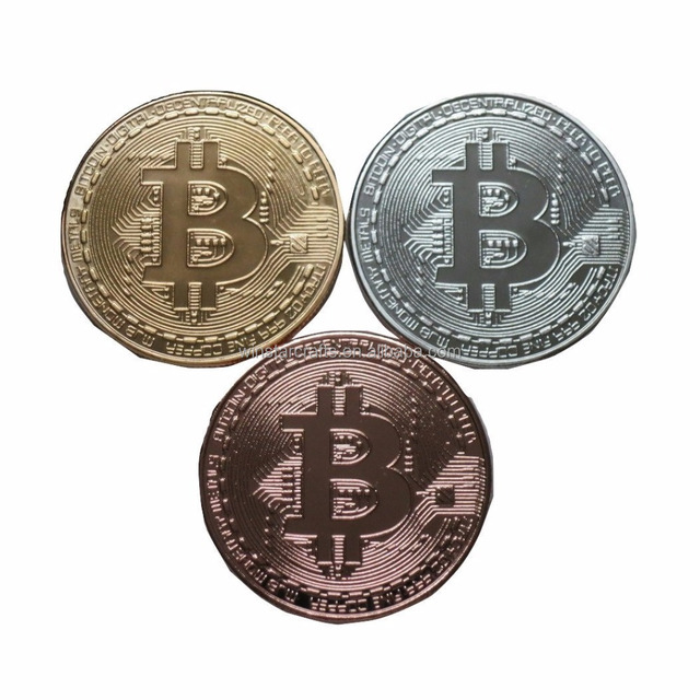 3 PC Colored Set of Bitcoin BTC Physical Display Metal Novelty Play Chip Tokens