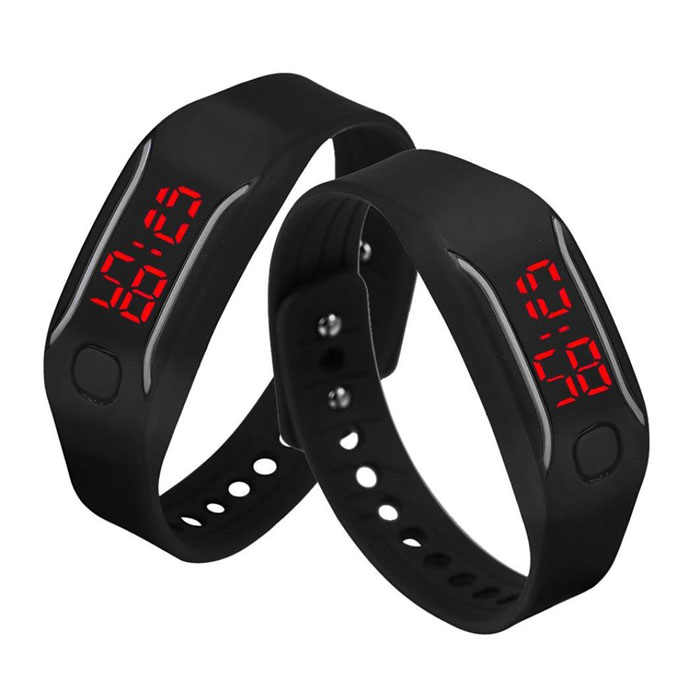 LED Watch, Unisex Silicone Bracelet Water Resistant Running Sports Wrist Watch