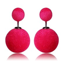 Colorful Women Double ball Earrings Cheap Vintage Statement Stud Earring,Charming Double Imitation Pearl Earring Ear Stud