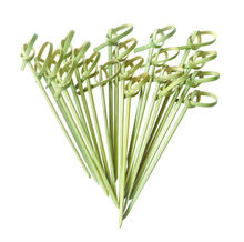 China Gold Home&Garden Supplier Disposable Bamboo Knot Pick,Loop Skewer,Heart Pick With Color For Party