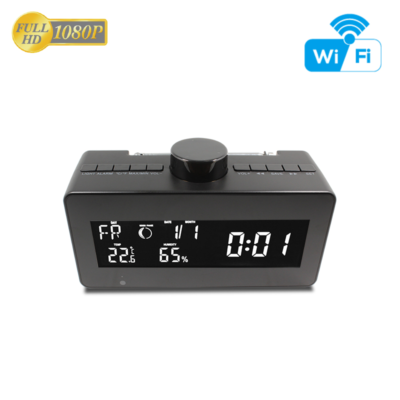 FHD <strong>1080P</strong> Weather Clock WIFI Hidden Camera FM Radio Rotatable Lens HiddenSpy Camera Nanny <strong>C</strong>