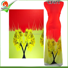 CF071 Queency African Women Fashion Trees Pattern Digital Printing Wholesale Pure Silk Chiffon Fabric in Pakistan