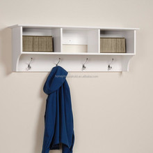 Living room decorative white wooden multi wall shelf with metal hooks