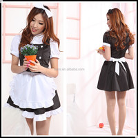 2014 hot sell generous pure sexy maid costume