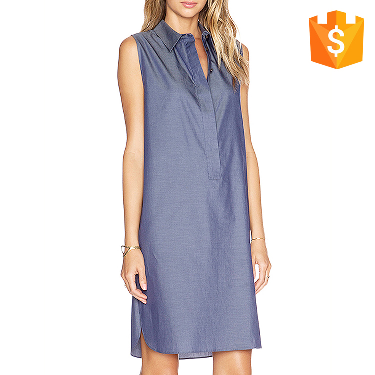 New Fashion Lace Yoke Chambray Sleeveless Denim Jeans Party Dress