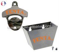 Fenda Wall Mounted Bottle Opener and Bottle Cap Catcher Set