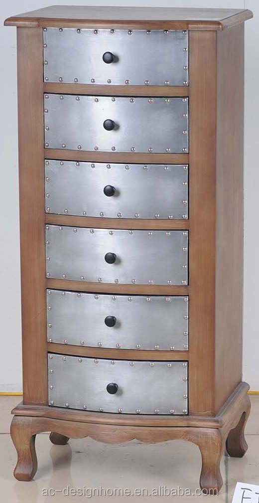 SILVER/NATURAL ALUMINIUM/WOODEN CABINET W/6 DRAWERS