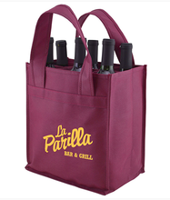 reusable customized Wholesale custom printed logo 6 bottle wine non woven tote bag
