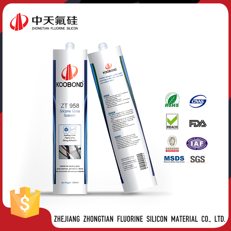 ZT958 Clear Color Acetic Silicone Sealant,Non-toxic Glass Silicone Sealant