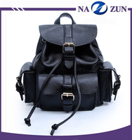 Baigou Factory Cheap Price Black Color PU Leather Material Ladies Backpack College Student School Bag for Young Girls