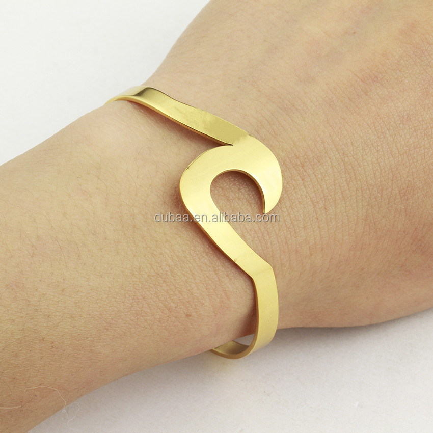 Stainless Steel Irregular Open Cuff Bangle Bracelets for Women Girl