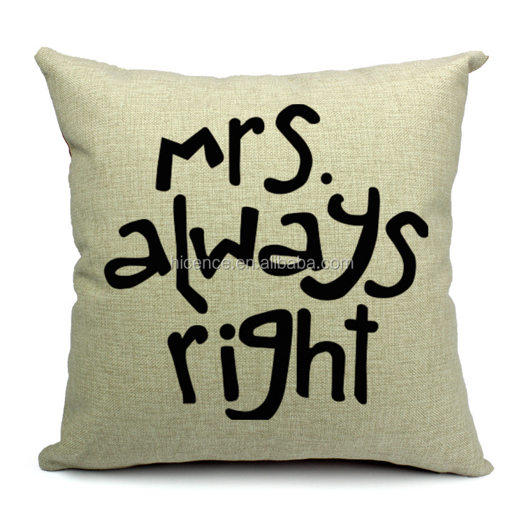 Popular Mr.&Mrs. Right Lovers Cushion Cover for Sofa Seat Bedding