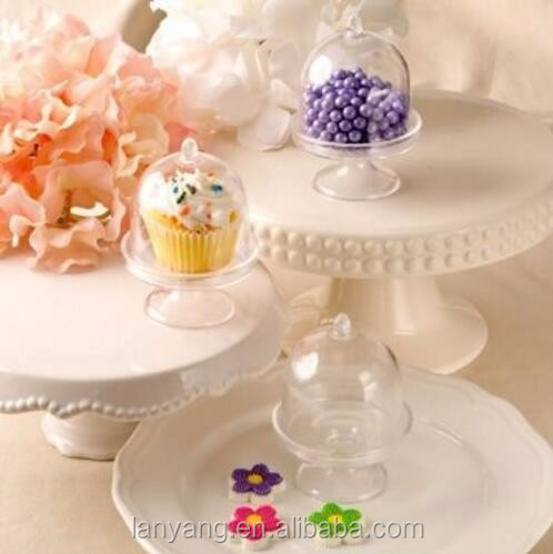 Clear Mini Cake Stand Cupcake Favor Wedding Container Plastic Party Candy Box