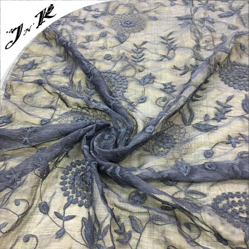 60827 High quality gradient 100% polyester thread light embroidery chiffon fabric for lady dress