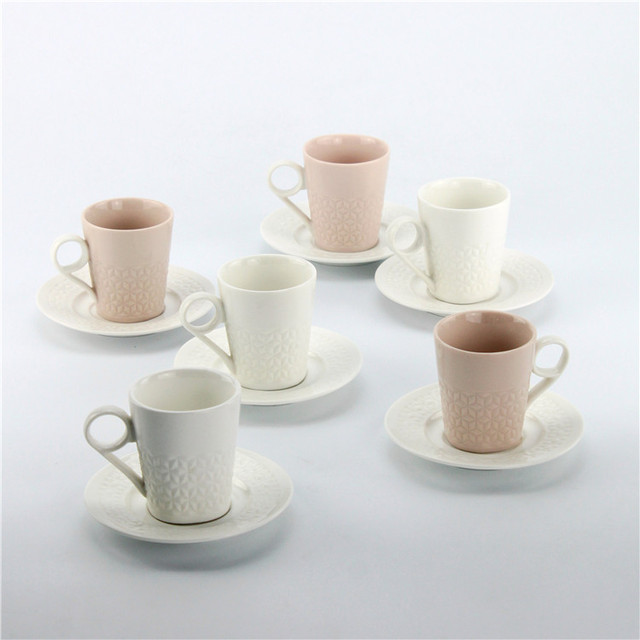 Differing colored unique shape handle 90ml cup and saucer with metal stand