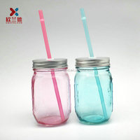 16oz colored glass scale embossed mason glass jar with straw and hole caps