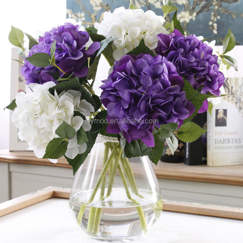 Wholesale Hottest Decorative 47cm Artificial White Purple Hydrangea Silk <strong>Flower</strong>