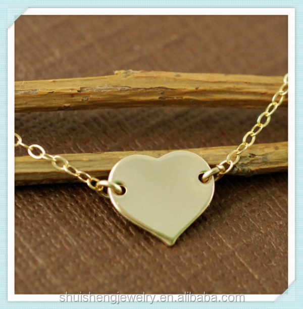Fashion new arrival custom stainless steel wholesale gold heart pendant necklace