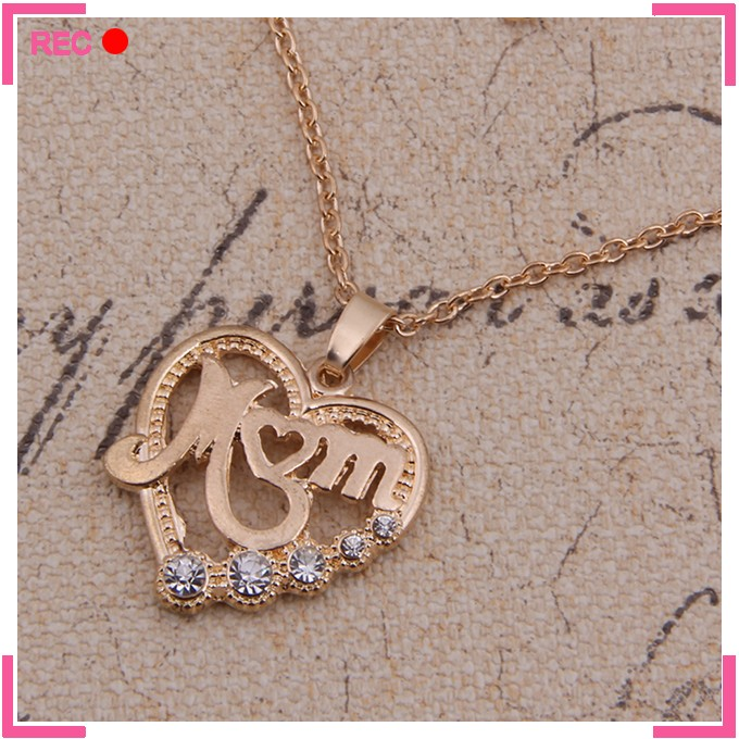 Imitate silver heart necklace with mother letters, imitate silver chain elegant necklace jewelry
