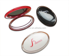 personalized small Oval plastic double sides cosmetic compact pocket mirror