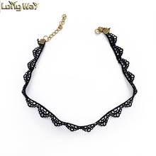 Black Ribbon Material Triangle Shape Tattoo Choker Necklace