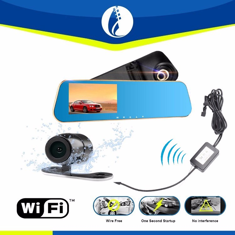 "4.3"" screen full hd 1080p black box car dvr 1080p car rearview mirror camera hd dvr vehicle video recorder G-sensor"