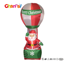 7ft Merry Christmas inflatable santa flying on hot balloon