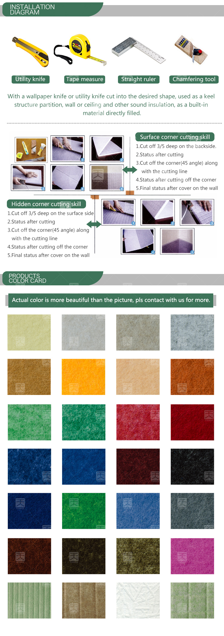 Wall panel interior polyester noise reduction panels