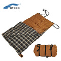 High Quality Grid Plaid Outdoor Hiking Travel Heated Flannel Envelope Camping Emergency Canvas Sleeping Bag with Strap