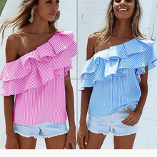2017 Newest Designer Blouse Women's One Shoulder Ruffles Striped Casual Blouse Tops