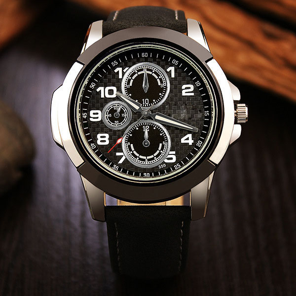 Man luxury brand automatic mechanical black leather sport watch
