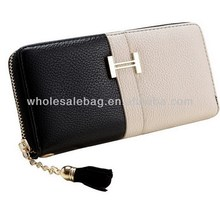 Zipper Lady White Black Wallet Woman Colorant Match Purse