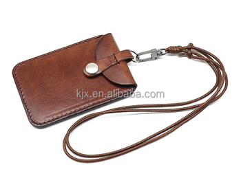 Genuine Leather Name Card Holder with Coin Pocket and Strap Necklace