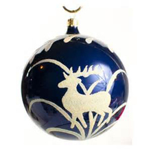 cheap hand blown clear christmas ornaments glass ball with a deer pattern