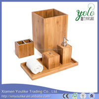 High quality Popular Design bamboo bathroom accessory set made in china