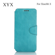 Embossed logo smart mobile phone accessories leather case cover for xiaomi mi3 , case cover for xiaomi